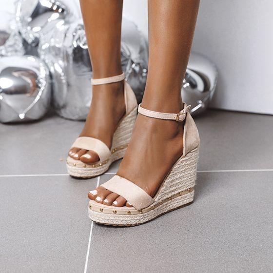 Classy Beige Street Wear Braid Womens Sandals 2020 Suede Ankle Strap Platform 11 cm Wedges Open / Peep Toe Sandals