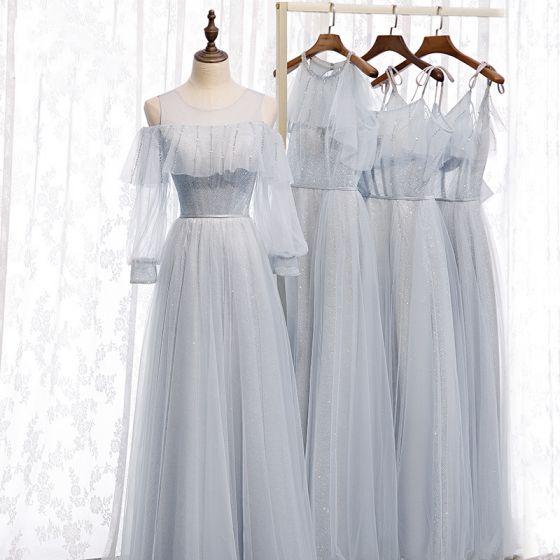 Hermoso Gris Vestidos De Damas De Honor 2020 A-Line / Princess Sin Espalda Rebordear Glitter Tul Largos Ruffle