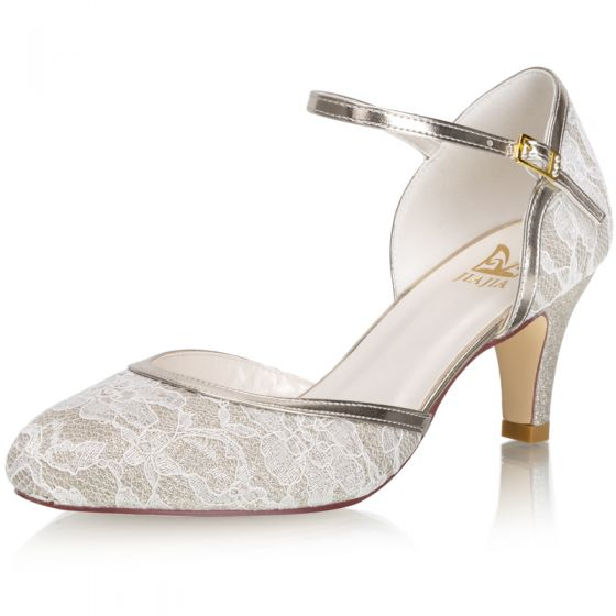 Fashion Champagne Lace Wedding Shoes 2021 Satin 6 cm Stiletto Heels Round Toe Wedding High Heels