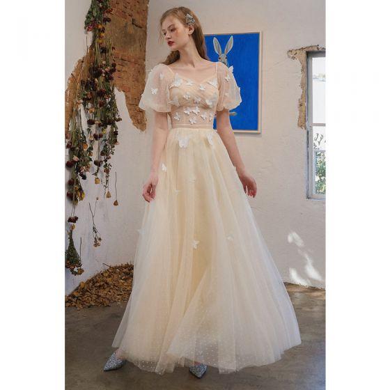 Charmant Champagne Papillon Robe De Bal 2021 Princesse Encolure Carrée Manches Courtes Dos Nu Longue Robe De Ceremonie