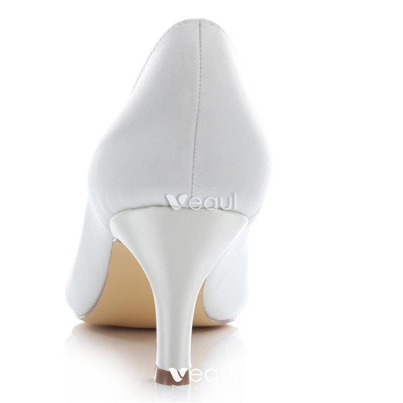 Beautiful Satin Bridal Shoes Stiletto Heels White Pumps Peep Toe