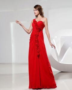 Sweetheart Flower Ruffle Sleeveless Backless Empire Floor Length Chiffon Silk Woman Evening Party Dress