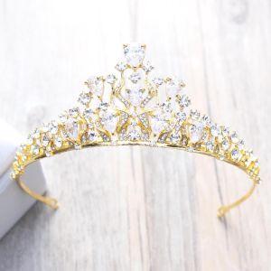 Glitzernden Gold Durchbohrt Diadem 2018 Metall Strass Hochzeit Brautaccessoires