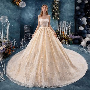 Chic / Beautiful Champagne Wedding Dresses 2019 A-Line / Princess Amazing / Unique Sweetheart Sleeveless Backless Glitter Sequins Tulle Cathedral Train Ruffle
