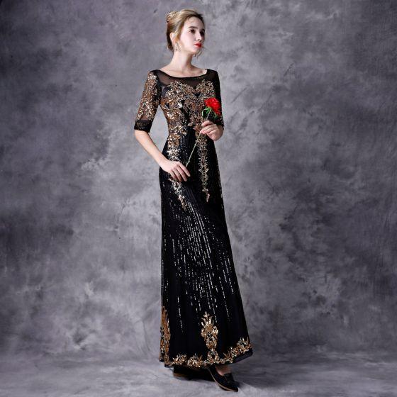 Vintage Czarne Sukienki Wieczorowe 2021 Princessa 1/2 Rękawy Kwadratowy Dekolt Długie Frezowanie Cekiny Aplikacje Tiulowe Wieczorowe Sukienki Wizytowe
