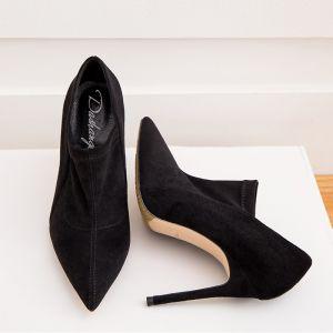 Sencillos Negro Casual Suede Botas de mujer 2020 Cuero 10 cm Talones Gruesos 10 cm / 4 inch Punta Estrecha Botas