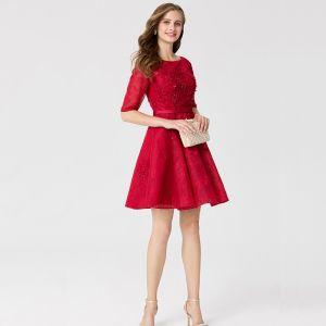 Klassisch Elegante Rot Kurze Abiballkleider 2020 A Linie U-Ausschnitt 1/2 Ärmel Applikationen Perlenstickerei Stickerei Heimkehr Festliche Kleider