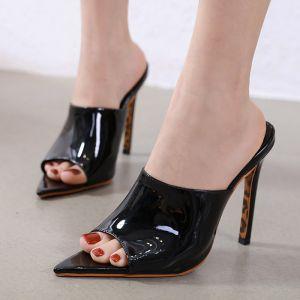 Modest / Simple Black Casual Womens Sandals 2020 12 cm Stiletto Heels Open / Peep Toe Sandals