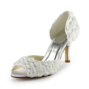 Belle Ivoire Chaussures De Mariée Talon Aiguille Avec Des Fleurs