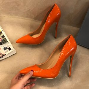 Chic / Belle Orange Bureau Escarpins 2019 12 cm Talons Aiguilles À Bout Pointu Escarpins