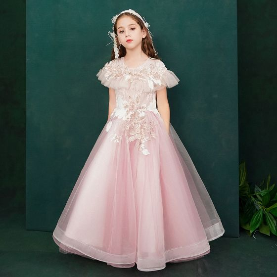Elegant Candy Pink Birthday Flower Girl Dresses 2020 A-Line / Princess Scoop Neck Short Sleeve Flower Appliques Lace Beading Pearl Floor-Length / Long Ruffle
