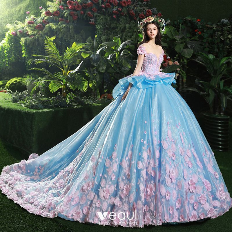 Ruffled Ball Gown Wedding Dress: Stunning Pool Blue Wedding Dresses 2017 Scoop Neck Short