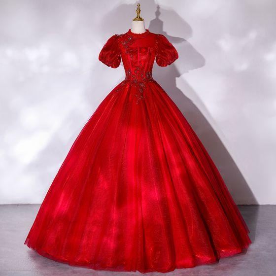 Viktorianischer Stil Rot Tanzen Ballkleider 2021 Ballkleid Stehkragen Geschwollenes Kurze Ärmel Perlenstickerei Pailletten Lange Rüschen Rückenfreies Festliche Kleider