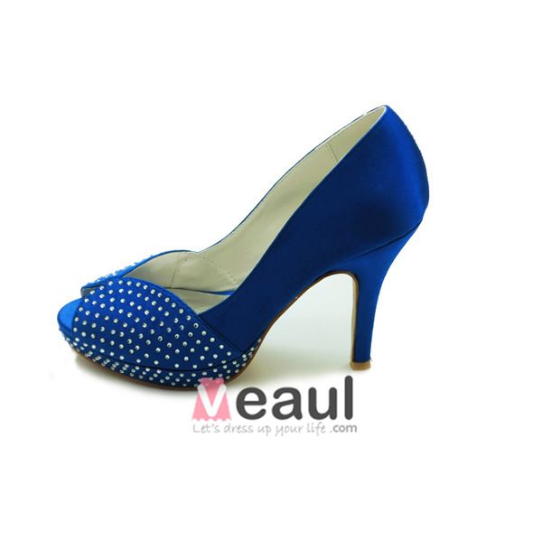 Sparkly Blue Party Shoes Satin Stilettos Pumps With Rhinestone