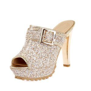 Glittrande Guld Sandaler Kvinnor Skor Stilettklackar Med Glitter