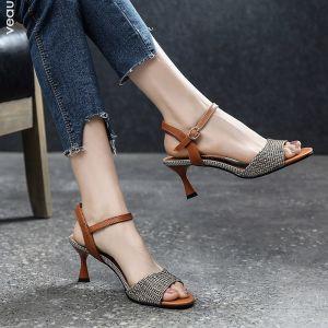 Vintage Casual Brun Sandaler Dame 2019 Lær Ankelstropp 6 cm Stiletthæler Peep Toe Sandaler