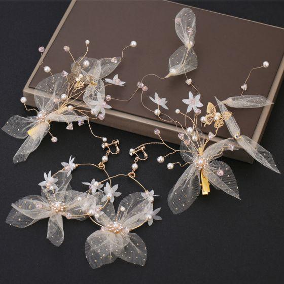 Blumenfee Aschenputtel Weiß Ohrringe Kopfschmuck 2019 Schmetterling Blumen Hochzeit Ball Abend Handgefertigt Brautaccessoires