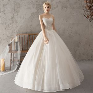 Elegant White Wedding Dresses 2018 Ball Gown Beading Lace Flower Pearl Sequins Sweetheart Backless Sleeveless Floor-Length / Long Wedding