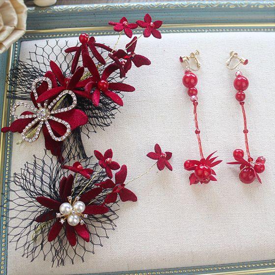Fashion Burgundy Velour Flower Bridal Jewelry 2020 Rhinestone Pearl Earrings Headpieces Accessories Bridal Hair Accessories