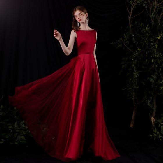Mode Bordeaux Satin Dansant Robe De Bal 2021 Princesse Encolure Carrée Sans Manches Perlage Ceinture Longue Volants Dos Nu Robe De Ceremonie