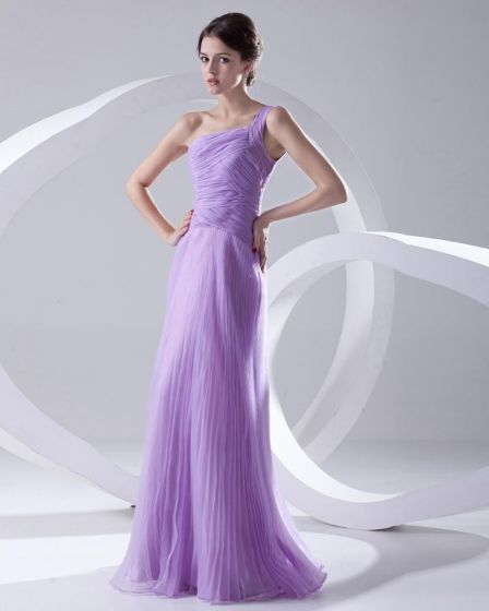 Fashion Organza Pleated One Shoulder Sleeveless Floor Length Prom Dress