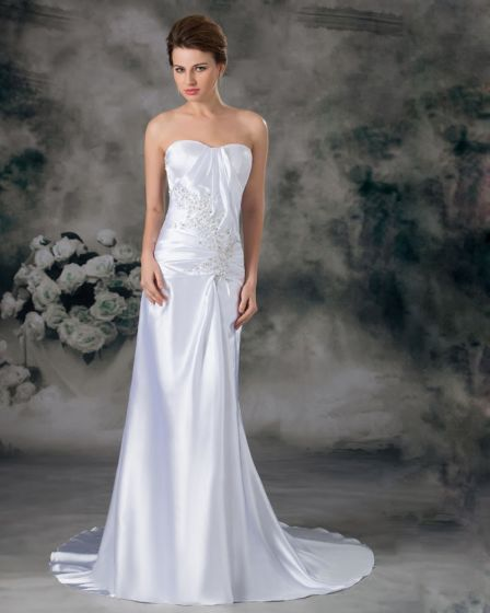 Charmeuse Sequins Sweetheart Court Train Sheath Wedding Dress