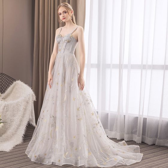 Elegant Grey Evening Dresses  2018 A-Line / Princess Lace Star Beading Spaghetti Straps Backless Sleeveless Sweep Train Formal Dresses