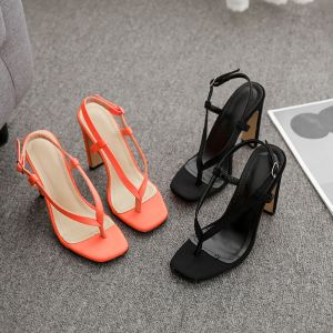 Sexy Orange Casual Womens Sandals 2020 12 cm Thick Heels Open / Peep Toe Sandals