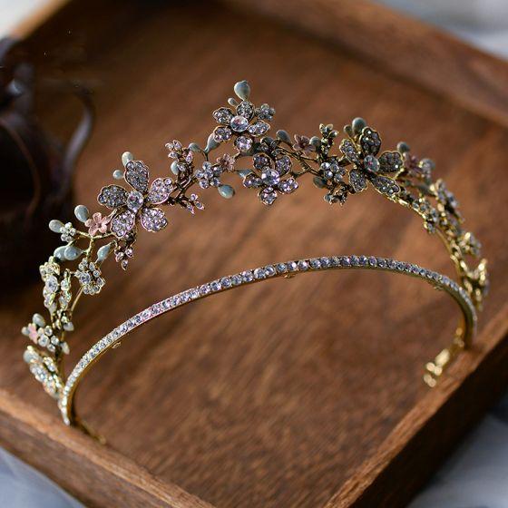 Eleganta Guld Tiara Brud Huvudbonad 2020 Legering Rhinestone Bröllop Tillbehör