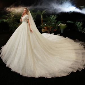 Luxury / Gorgeous Champagne Bridal Wedding Dresses 2020 Ball Gown V-Neck Short Sleeve Backless Beading Pearl Glitter Tulle Cathedral Train Ruffle