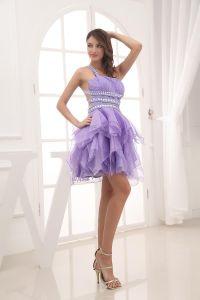 Mode Plissiert One Shoulder Ärmellose Oberschenkel Länge Abiballkleider / Abschlussballkleider