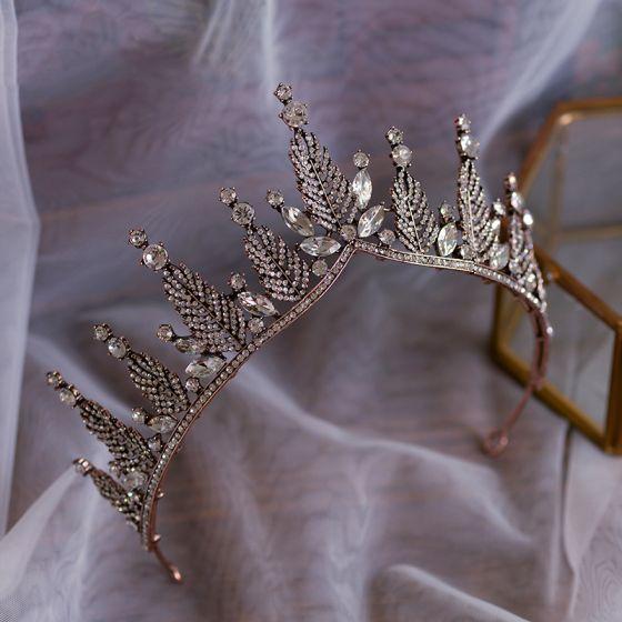 Vintage / Retro Bronze Bridal Hair Accessories 2019 Metal Rhinestone Tiara Wedding Accessories
