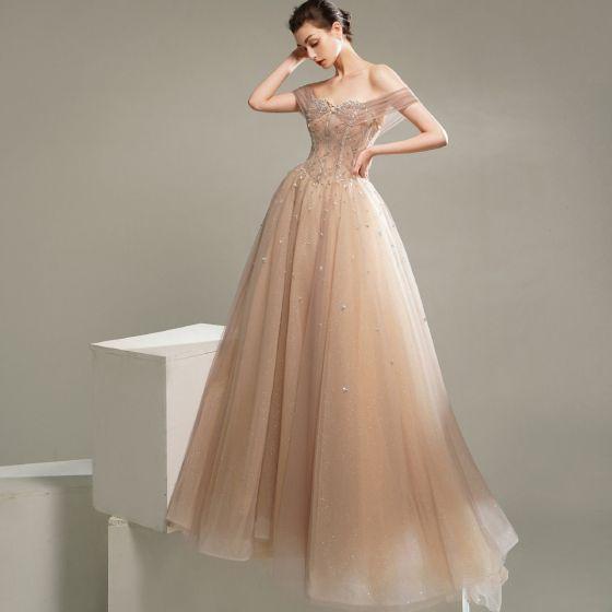Chic Champagne Dansant Robe De Bal 2020 Princesse Manches Courtes De l'épaule Perlage Glitter Tulle Train De Balayage Volants Dos Nu Robe De Ceremonie