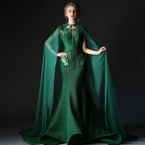Luxury / Gorgeous Dark Green Evening Dresses  With Cloak 2018 Trumpet / Mermaid Beading Pearl Rhinestone Scoop Neck Backless Sleeveless Sweep Train Formal Dresses