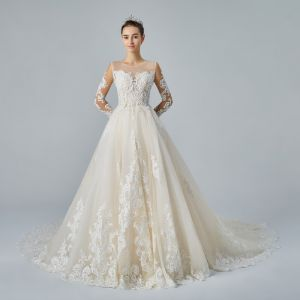 Best Champagne See-through Wedding Dresses 2019 A-Line / Princess Scoop Neck 3/4 Sleeve Pierced Appliques Lace Pearl Beading Cathedral Train Ruffle