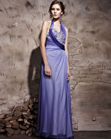 Floor Length Hanging Neck Tencel Satin Sleeveless Zipper Evening Dresses