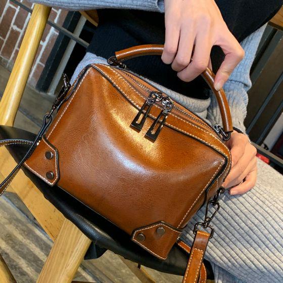 Tan Quadratische Handtasche Umhängetasche Umhängetaschen 2021 Leder Freizeit Damentaschen