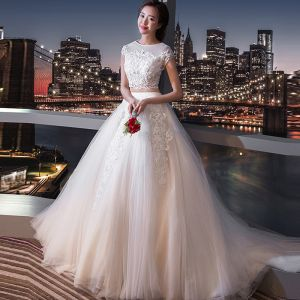 Chic / Beautiful 2 Piece White Wedding 2017 A-Line / Princess U-Neck Lace Tulle Beading Appliques Backless Wedding Dresses