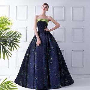 Starry Sky Navy Blue Prom Dresses 2019 Ball Gown Strapless Sleeveless Court Train Ruffle Backless Formal Dresses