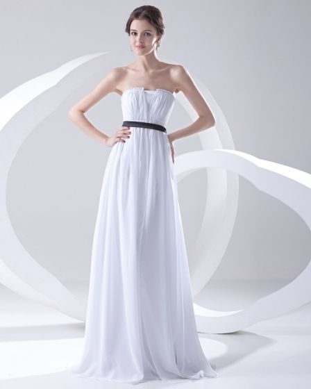 Fashion Chiffon Pleated Sleeveless Strapless Floor Length Bridesmaid Dress