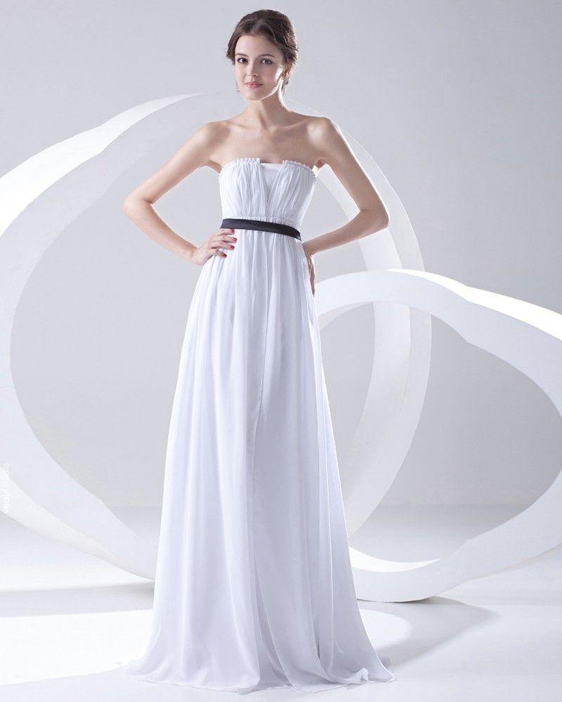 Fashion Chiffon Pleated Sleeveless Strapless Floor Length Bridesmaid Dress