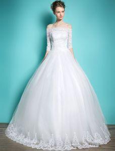 Elegante Brautkleider 2016 Ballkleid Weg Von Der Schulter-spitze Rückenfrei Brautkleid