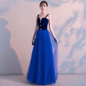 Affordable Royal Blue Suede Evening Dresses  2019 A-Line / Princess Shoulders Sleeveless Rhinestone Floor-Length / Long Ruffle Backless Formal Dresses