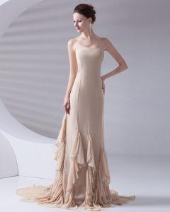 Longueur De Plancher Robe A Volants En Mousseline De Soie Sans Bretelles De Celebrite De La Mode