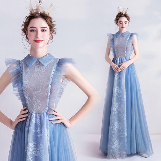 Vintage Himmelsblå Aftonklänningar 2020 Prinsessa Hög Hals Ruffle Spets Blomma Ärmlös Långa Formella Klänningar