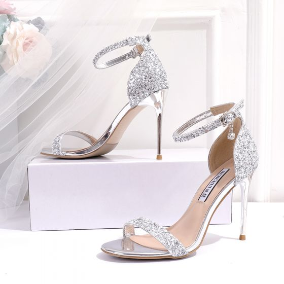 Sparkly Silver Evening Party Womens Sandals 2020 Sequins Ankle Strap 10 cm Stiletto Heels Open / Peep Toe High Heels