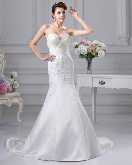 Parlstav Rufsa Satin Alskling Kapell A-line Brudklänningar Bröllopsklänningar