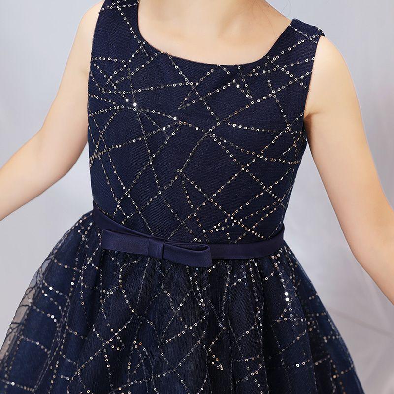 Chic / Beautiful Navy Blue Prom Dresses 2019 A-Line / Princess Square Neckline Sleeveless Glitter Sequins Bow Sash Floor-Length / Long Ruffle Formal Dresses
