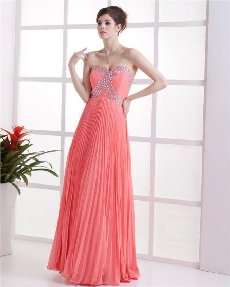 Chiffon Pleated Beading Sweetheart Floor Length Evening Prom Dresses