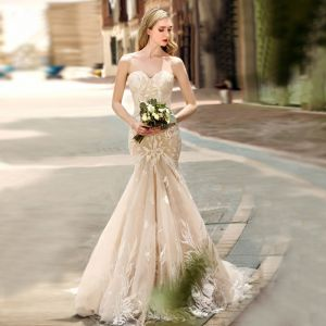 Charming Champagne Wedding Dresses 2019 Trumpet / Mermaid Sweetheart Lace Flower Sleeveless Backless Court Train